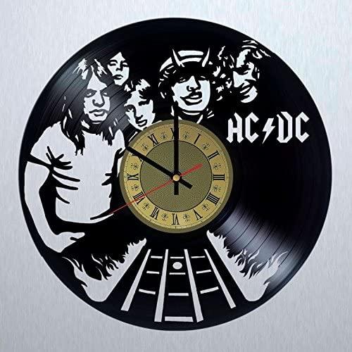 STP Cat AC/DC Rock Band Vinyl Wall Clock - Handmade Artwork Home Bedroom Living Kids Room Nursery Wall Decor Great Gifts idea for Birthday, Wedding, Anniversary - Customize Your (Gold/Black)