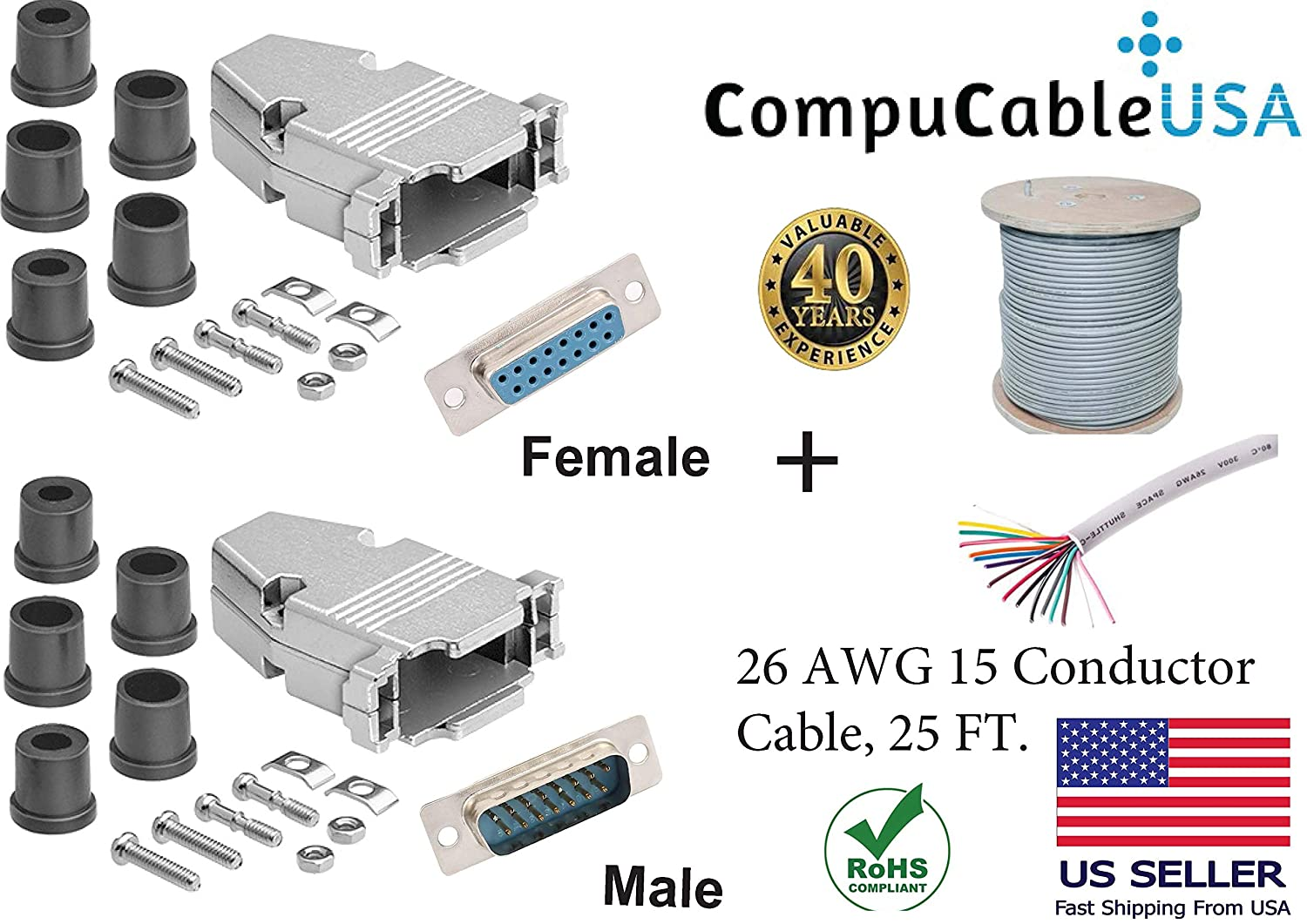 CompuCablePlusUSA.com Best Set DB15 Male/Female Solder Type Connector Kits w/Metal Hood+ D-Sub Male/Female Pins+Strain Relief Grommet+26 AWG 15-Conductor Shielded Cable 25 Complete Bundle Set