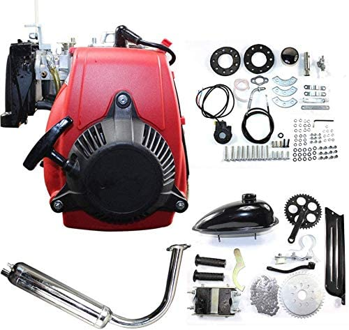 "DNYSYSJ 49cc 4-Stroke Powerful Pull Start Cycle Motor Kit Compete Gas Kit Motorized Bike Petrol Gas Bicycle Engine for 28"" V Frame Bike and 26"" ATV"