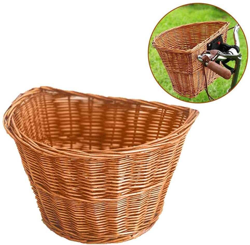Wicker Bike Basket, Portable Hand-Woven Shopping Basket Folk Craftsmanship Bicycle Handlebar Storage Basket, Fashionable Durable Bicycle Front Handle Basket for Boys and Girls Bicycle.