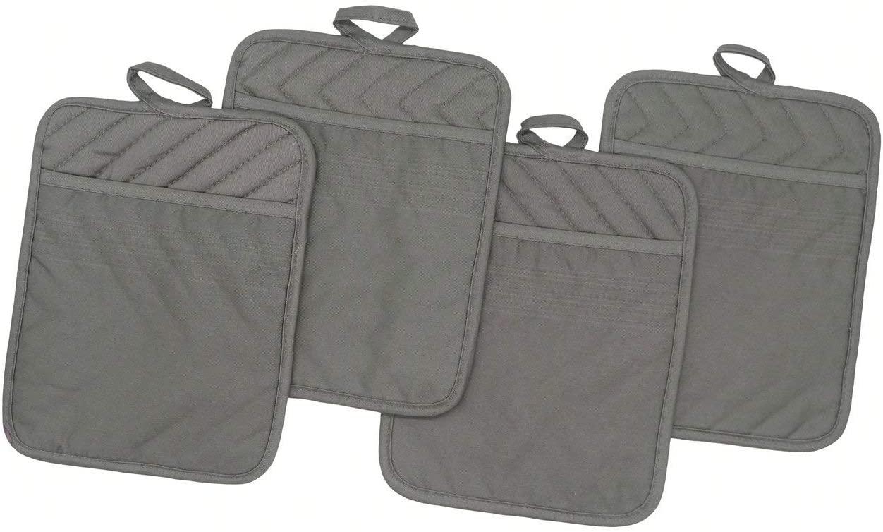 "Cotton Pocket Pot Holder Kitchen Hot Pad Heat Resistant, Set of 4, Kitchen Basic Trivet for Cooking and Baking, 7""x 9"" (Grey)"