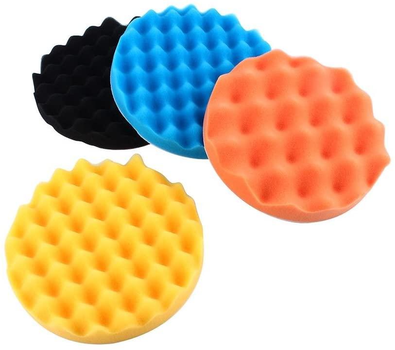 Acouto Polishing Pad Kits,4Pcs 7 inch Car Polishing Sponge Foam Pads Buffing Wax Polisher Set