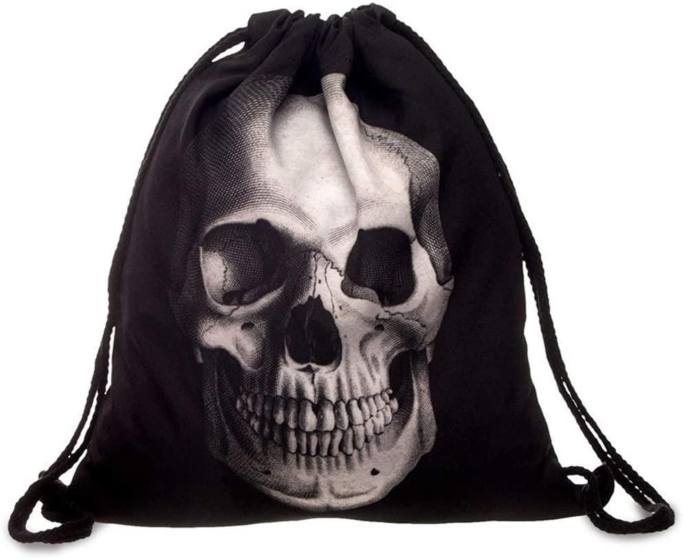 Drawstring Backpack - Gym Bag,Shopping,Swim,Walking, Climbing, Fishing, Traveling, Cycling ,Drawstring Backpack Bag for Men Women Gym Drawstring Bag,Basketball and Football Bag (Skull)