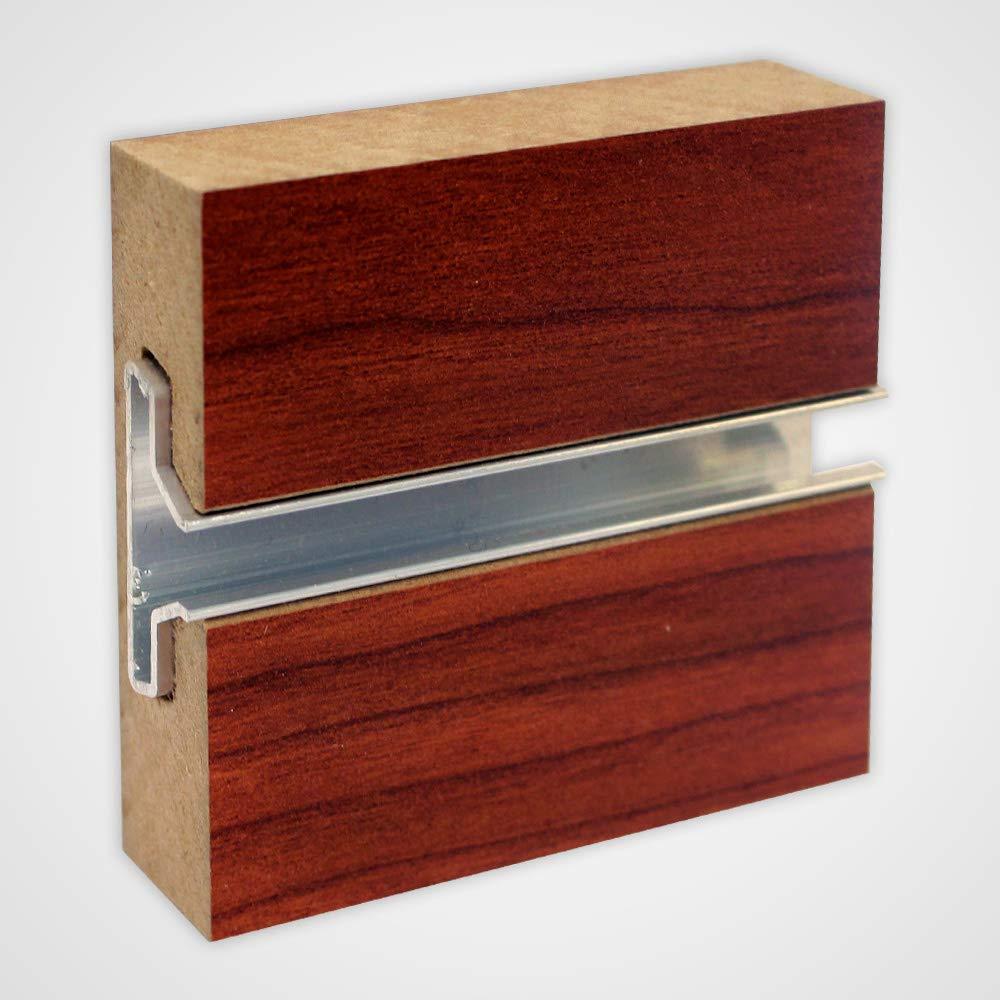 Cherry Horizontal Slatwall Panels 4 H x 8 W Feet with Metal Inserts - Lot of 2