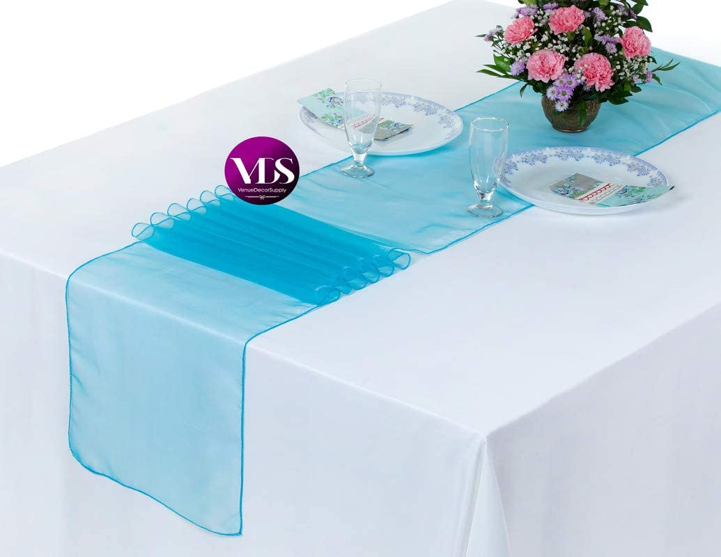 VDS Table Runner Organza Table Cloth Decoration for Wedding Ceremony Events Birthday Party (12 x 108 inch) (Pack of 10 Turquoise)