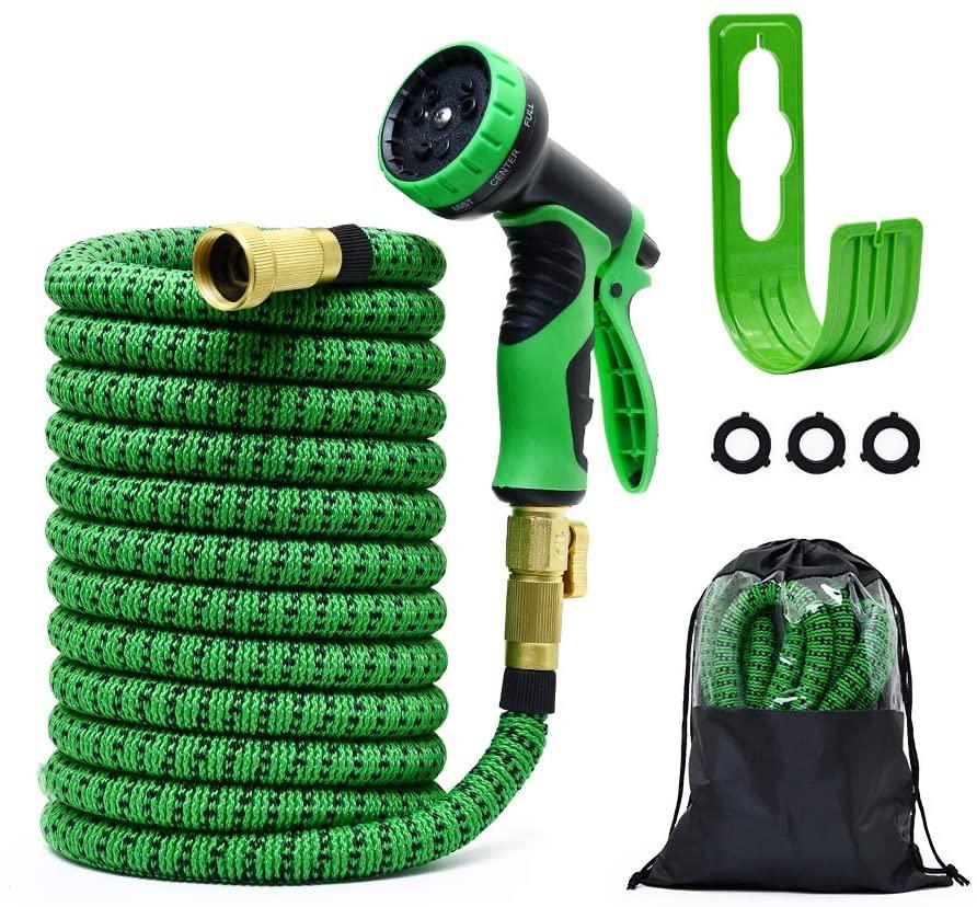 Garden Hose Expandable Hose, Durable Flexible Water Hose, Car Wash Hose Pipe 50ft 9 Function Spray Hose Nozzle, 3/4