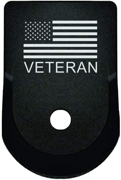 BASTION Laser Engraved Aluminum Finger Extension Grip Magazine Base Plate for Glock 9mm .357 .40 .45 Gap - Gen 1-5 - US Veteran
