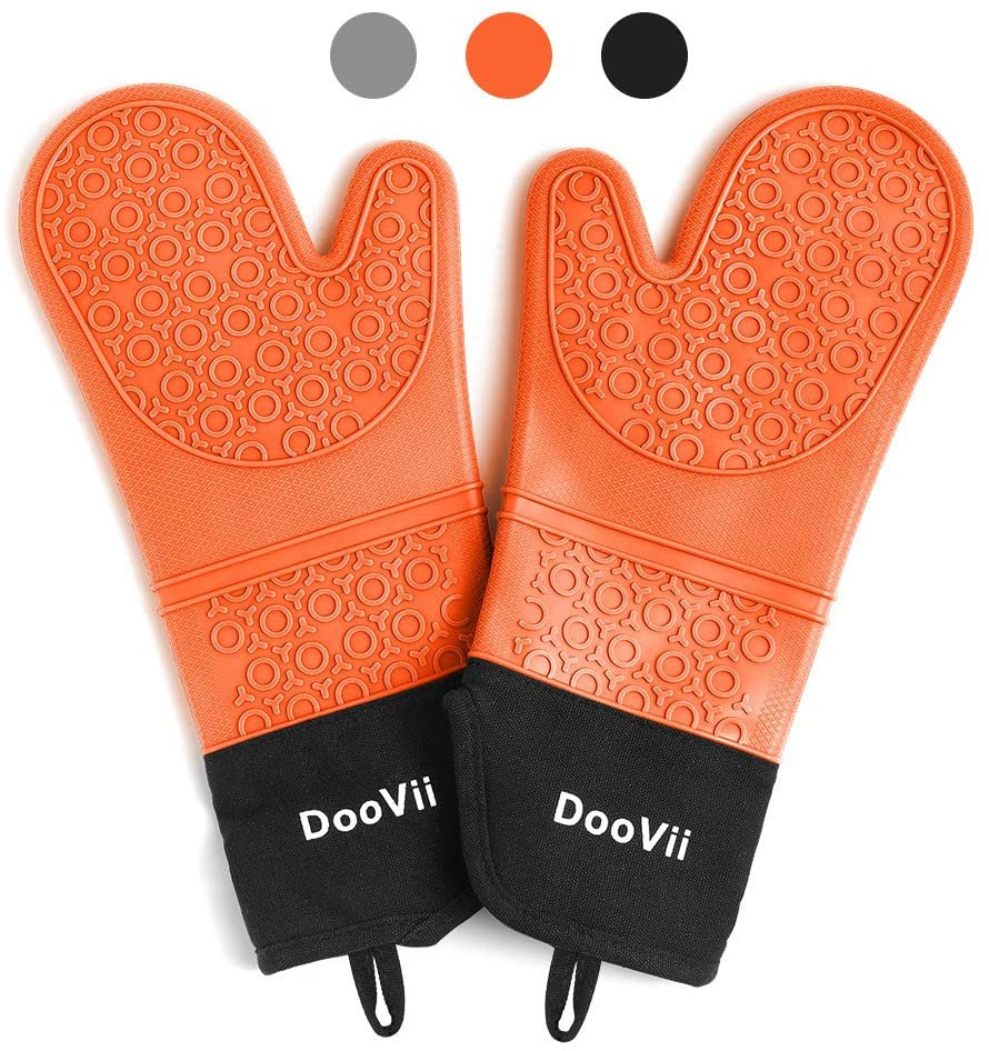 DooVii Silicone Oven Mitts (Orange),1 Pair of Extra Long Oven Gloves with Quilted Liner,Heat Resistant Waterproof Kitchen Gloves,Professional Food Safe Pot Holder for Cooking BBQ Baking and More