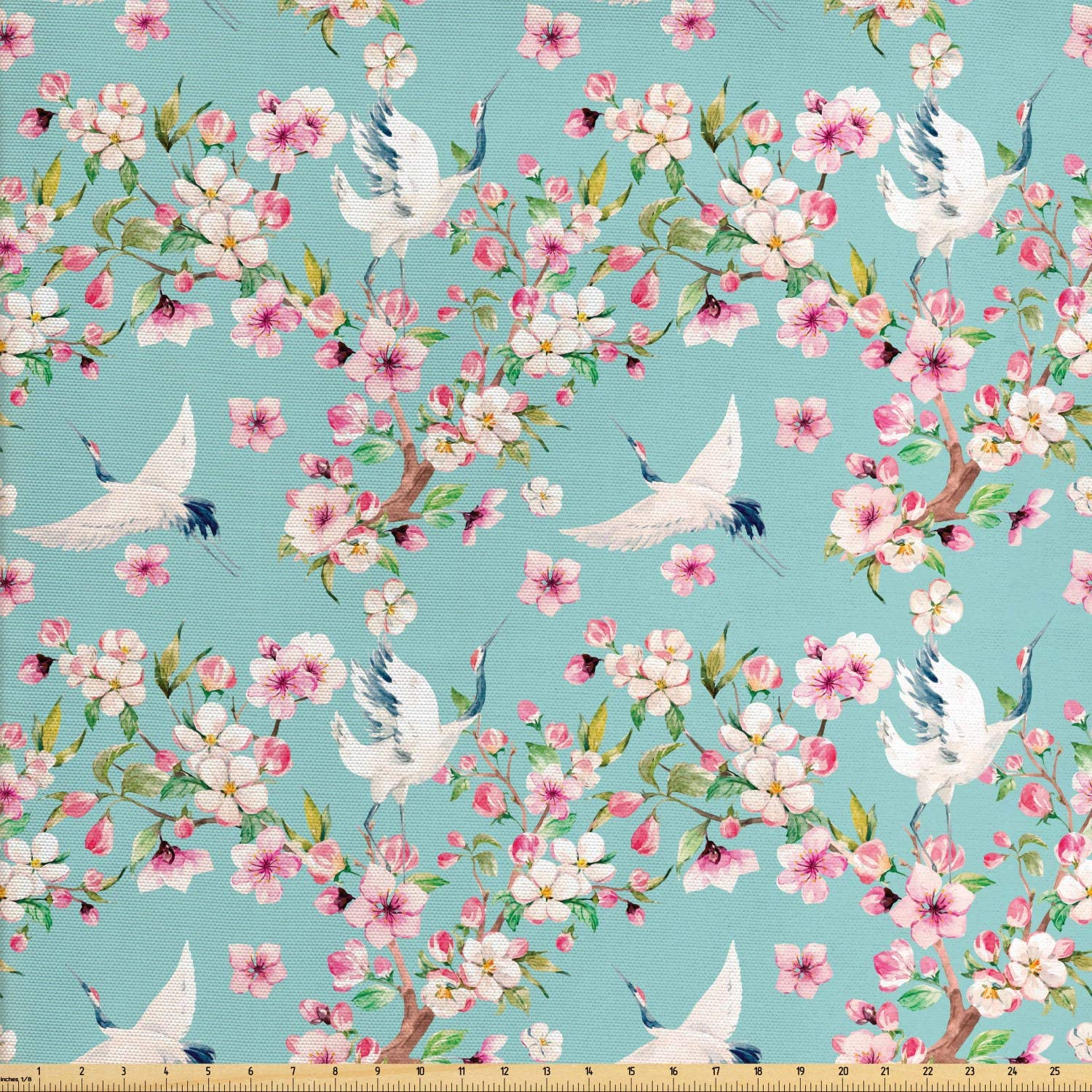Ambesonne Flowers Fabric by The Yard, Watercolor Art Style Flying Crane Birds with Pink Sakura Cherry Blossoms Exotic, Decorative Fabric for Upholstery and Home Accents, 3 Yards, Seafoam Pink