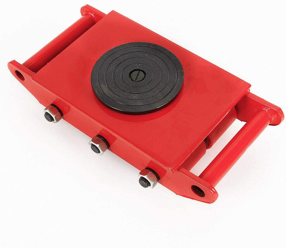 Munsinn Machinery Mover Rotation Machine Heavy Duty Machine Dolly Skate Roller Machinery Mover with 360 Degree Rotation Cap (8T Red)