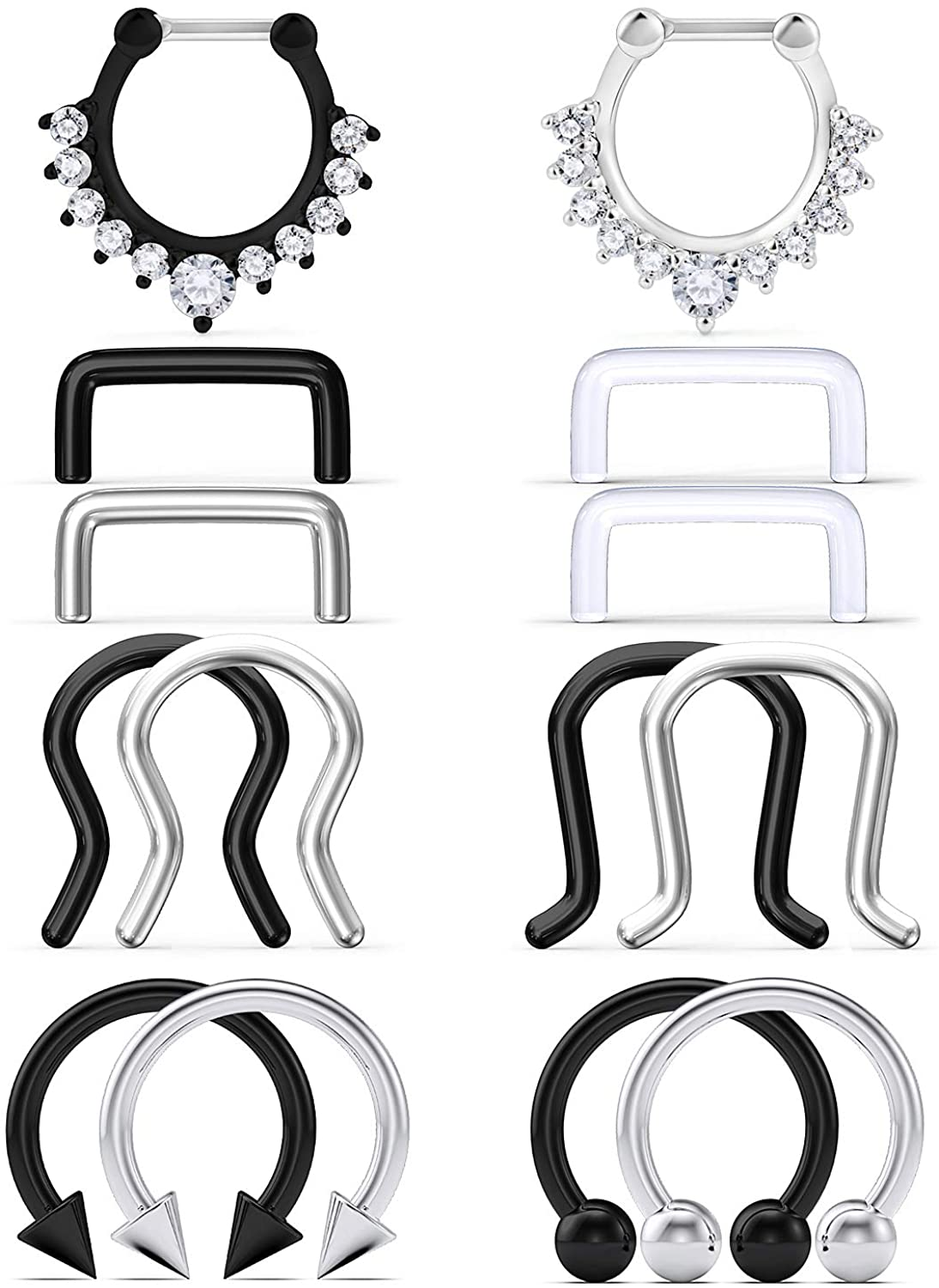 Hoeudjo 14PCS 16G Surgical Steel Septum Hoop Nose Ring Horseshoe Rings Cartilage Daith Tragus Clicker Retainer Body Piercing Jewelry for Women Men Diamond CZ Inlaid