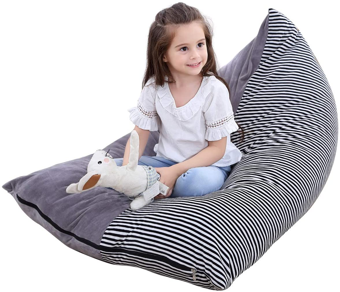 DaMohony Toy Storage Bag Chair Stuffed Animal Bean Chair Extra Large Canvas Pouch Stripe Sofa for Kids Adults