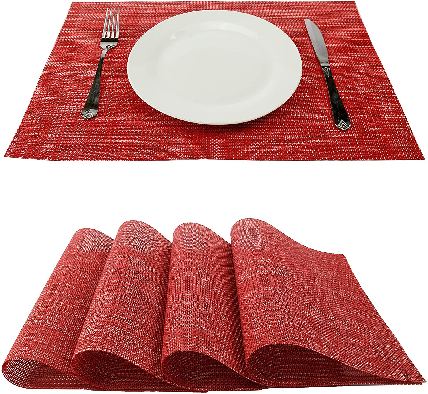 GEFEII Red Placemats Dining Table Table Mats Non-Slip Heat-Resistant PVC Woven Vinyl Washable Kitchen Placemats Set of 4 Stain Resistant Placemats (Red, 4)