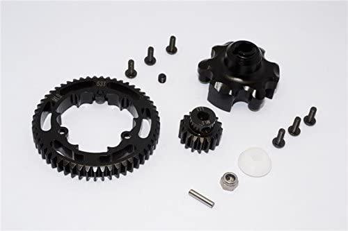 Traxxas X-Maxx 4X4 Upgrade Parts Aluminum Gear Adapter + Steel Spur Gear 53T + Motor Gear 17T (for X-Maxx 6S Only) - 1 Set Black
