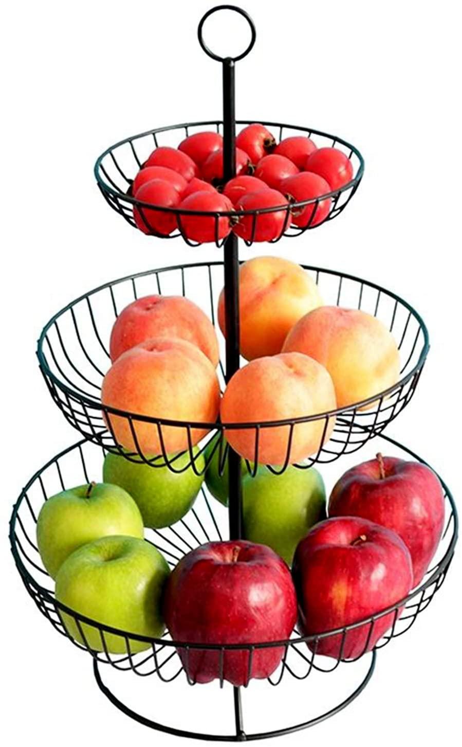 3 Tier Metal Fruit Basket Bowl, Jomense Elegant Wire Fruit Rack Tiered Fruit Bowl, Practical Storage Stand for Fruit Cake Snack (Black)
