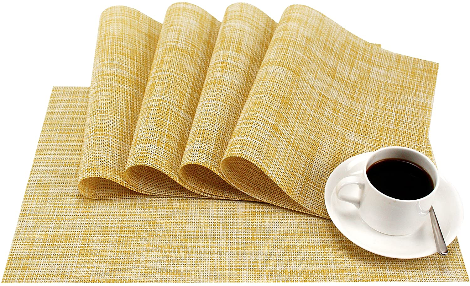 GEFEII PVC Woven Vinyl Non-Slip Heat-Resistant Yellow Placemats Kitchen Environmental Table Place Mats Pad Cushion Yellow Placemats for Kitchen Dining Table Set of 6 (Yellow, 6)
