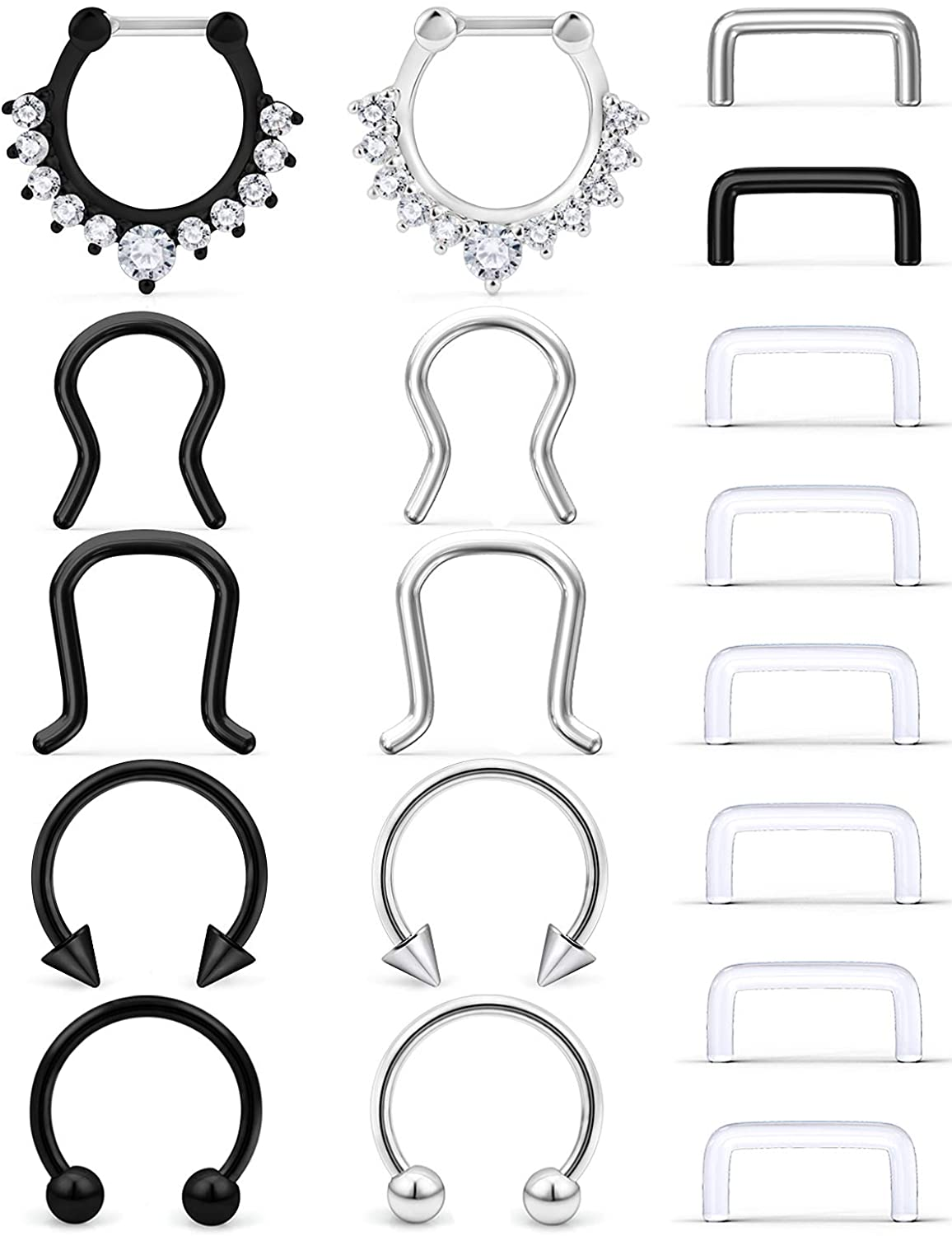 SCERRING 16G Septum Jewelry Stainless Steel Hinged Seamless Nose Hoop Ring Cartilage Daith Tragus Clicker Rings Retainer Body Piercing Jewelry 18-20PCS