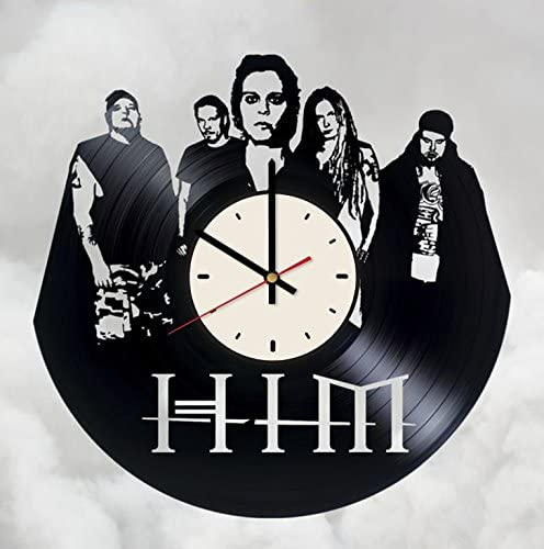HIM gothic/metal rock band vinyl wall clock - handmade artwork home bedroom living kids room nursery wall decor great gifts idea for birthday, wedding, anniversary - customize your (White/Black)