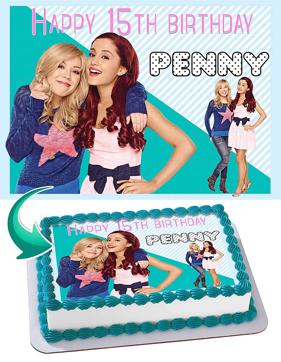 Sam and Cat Edible Image Cake Topper Party Personalized 1/4 Sheet