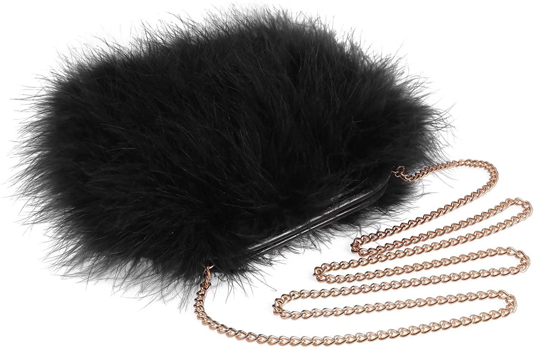 Women Marabou Feather Clutch Bag Evening Handbag with Detachable Chain Strap Wedding Cocktail Party Bag