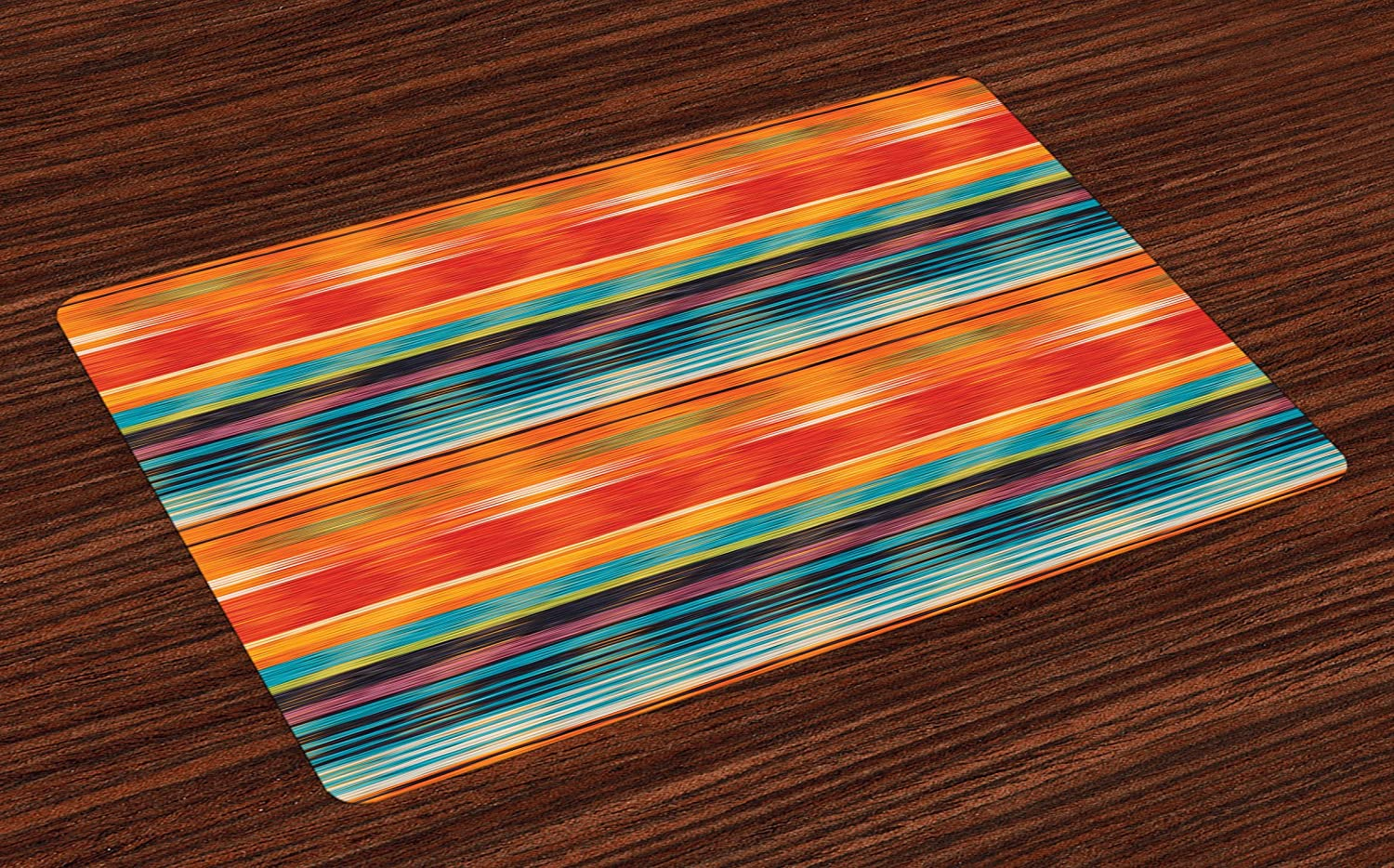 Lunarable Mexican Place Mats Set of 4, Abstract Vibrant Vintage Aztec Motif Gradient Blurred Lines Ecuador Crafts Image, Washable Fabric Placemats for Dining Table, Standard Size, Orange