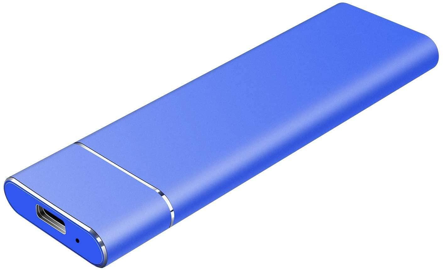 External Hard Drive 1T 2T, Slim Aluminum USB3.0 HDD Storage for PC, Mac, Desktop, MacBook, Chromebook, Xbox 360(1TB Blue)
