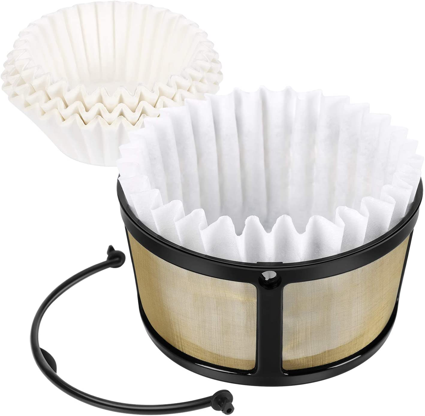 Pure-Brewing Reusable Mesh Coffee Filter Basket and 50 Filter Papers Fit for Keurig K-Duo Essentials and K-Duo Brewers Machine