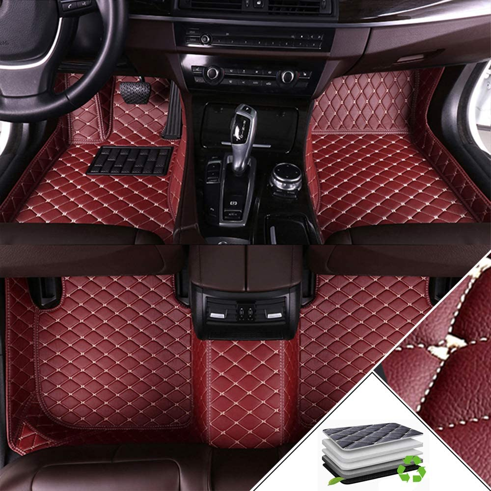 ALLYARD Custom Car Floor Mats Customizable 95% car Model All Weather Waterproof Non-Slip Full Covered Protection Advanced Performance Liners Car Liner Wine Red
