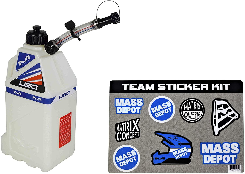 Matrix Concepts M3 4.0 Gal Utility Can Easy Pour Nozzel w Limited Edition 25 Piece Sticker Kit (White (USA))