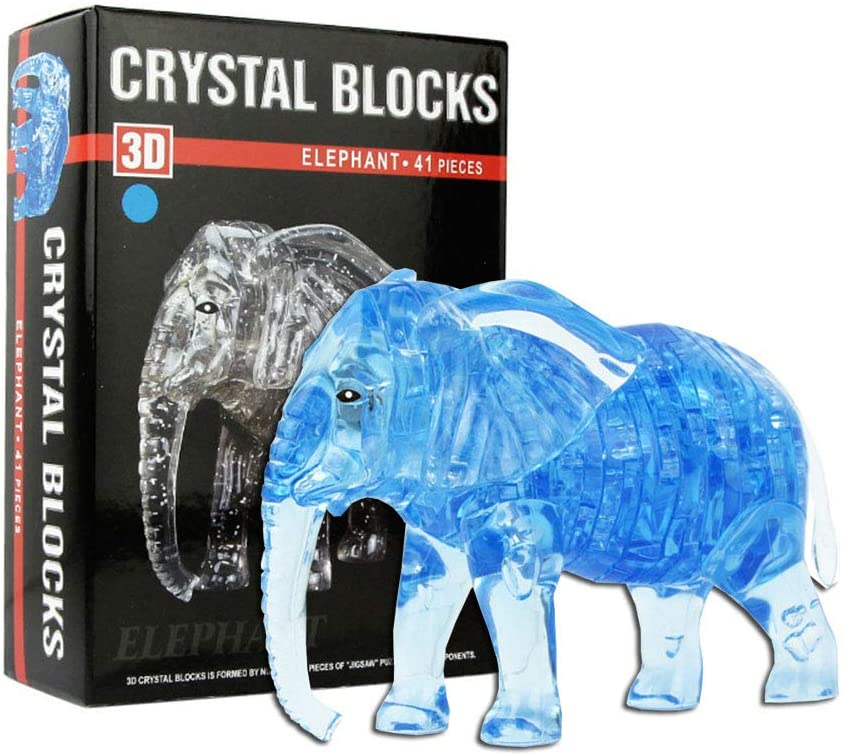 Idle Decormay 3D Crystal Puzzle Jigsaw Elephant Best Gift for Children Students Friends DIY Kids Puzzles/Home Decoration(Blue)
