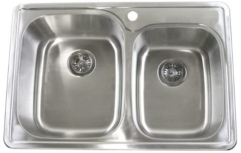 33 Inch Top-mount / Drop-in Stainless Steel 60/40 Double Bowl Kitchen Sink - 18 Gauge