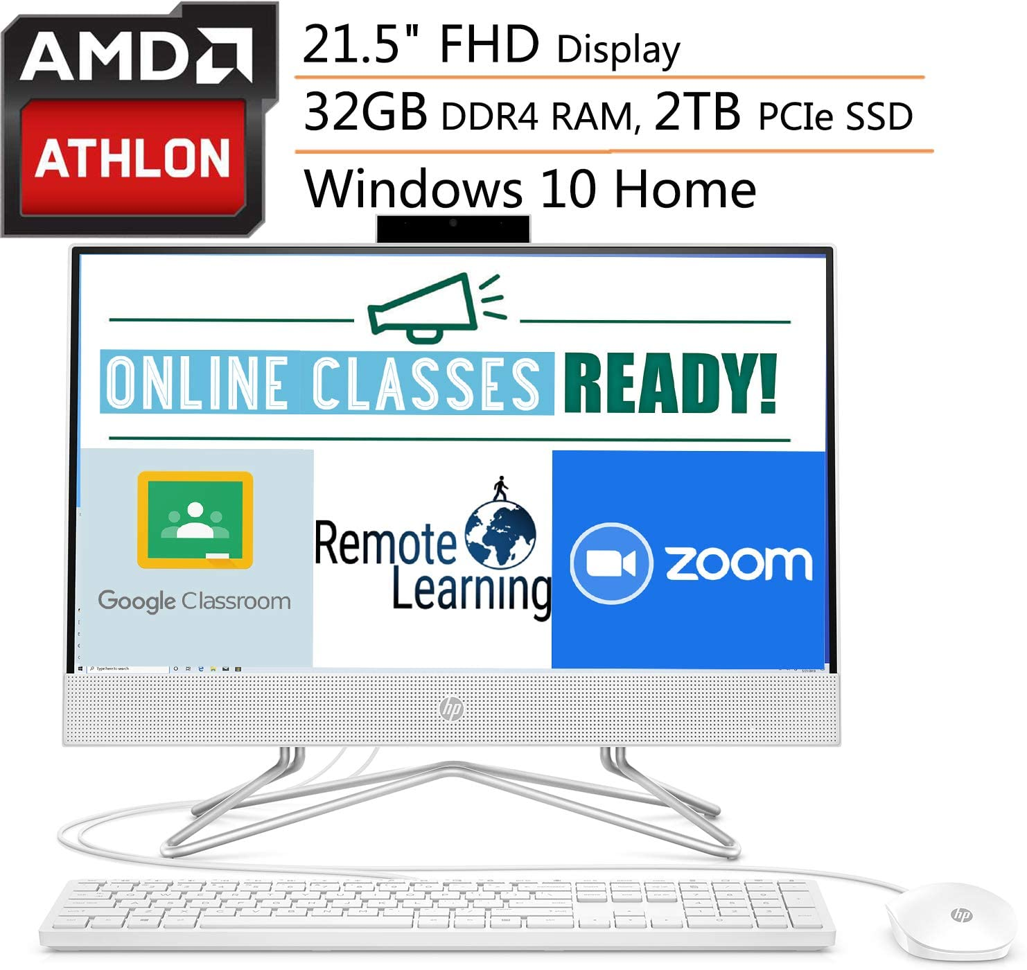 HP 22 AIO 21.5 FHD All-in-One Desktop Computer, AMD Athlon 3050U Up to 3.2GHz (Beats i3-7130U), 32GB DDR4 RAM, 2TB PCIe SSD, DVDRW, 802.11AC WiFi, Online Class Ready, Windows 10, iPuzzle Mousepad