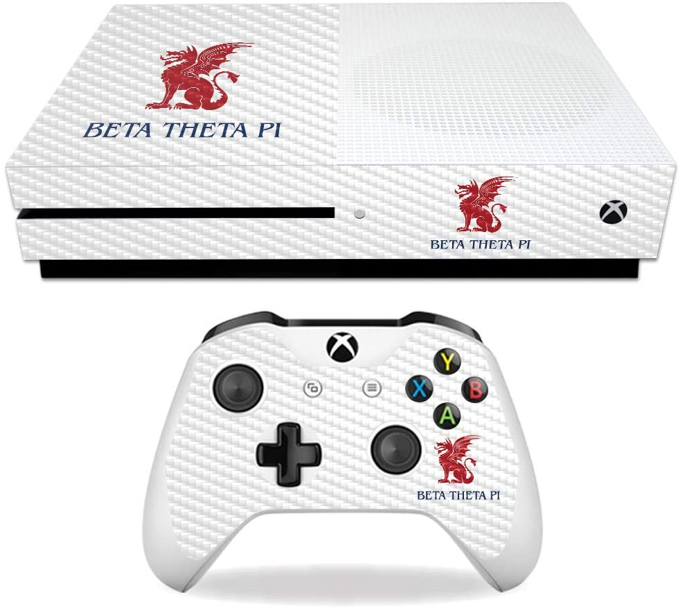 MightySkins Carbon Fiber Skin for Microsoft Xbox One S - Beta Theta Pi Classic | Protective, Durable Textured Carbon Fiber Finish | Easy to Apply, Remove, and Change Styles | Made in The USA
