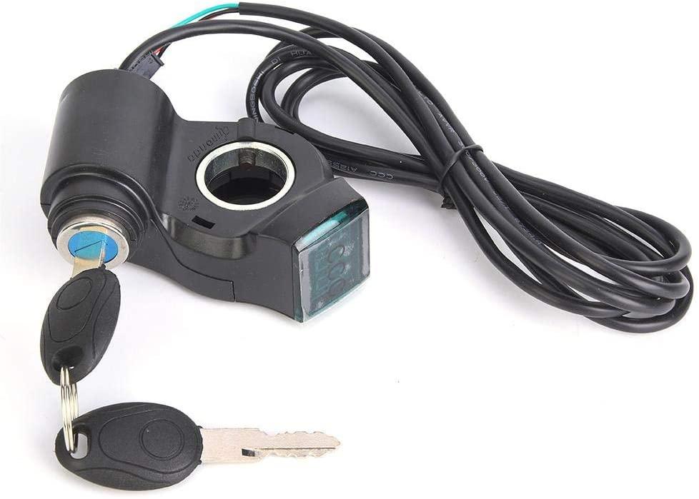 E-Bike Voltage Display & 2 Keys, E-Bike Thumb Throttle Digital Battery Voltage Display Switch Power with Key Lock