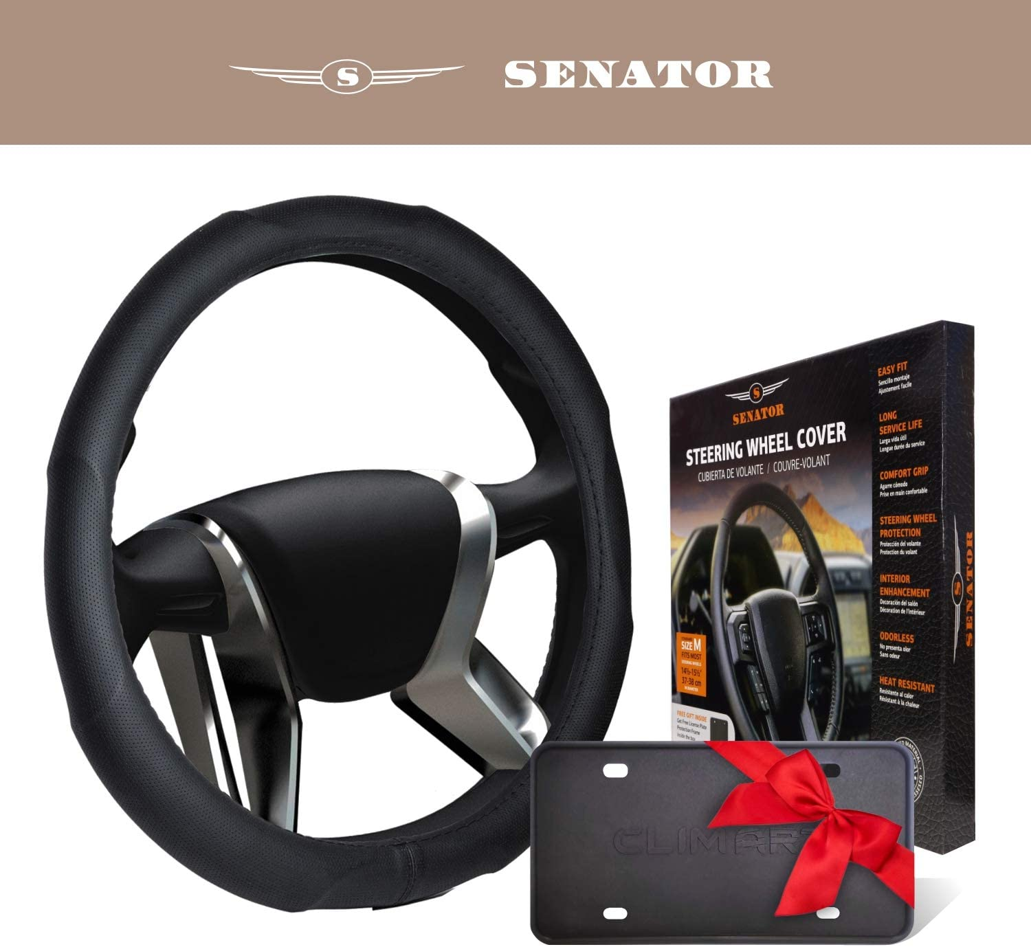 SENATOR Steering Wheel Cover for Cars, Trucks, and SUVs MAI01 15 inches M Black Leather PU Universal Fit with Slip Resistant Grip 38cm Auto Car Accessories for Men & Women - SEOPLS1201
