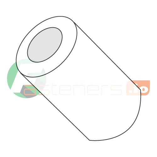 Round Spacer, Nylon, Natural Finish, 12 Screw Size, 1/2 inch OD, 3/16 Inch Body Length, (Pack of 1000) Unthreaded