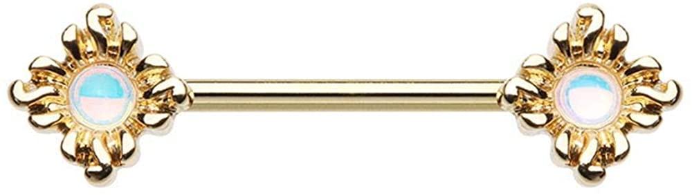 Covet Jewelry Golden Illuminating Opal Sun Nipple Barbell Rings