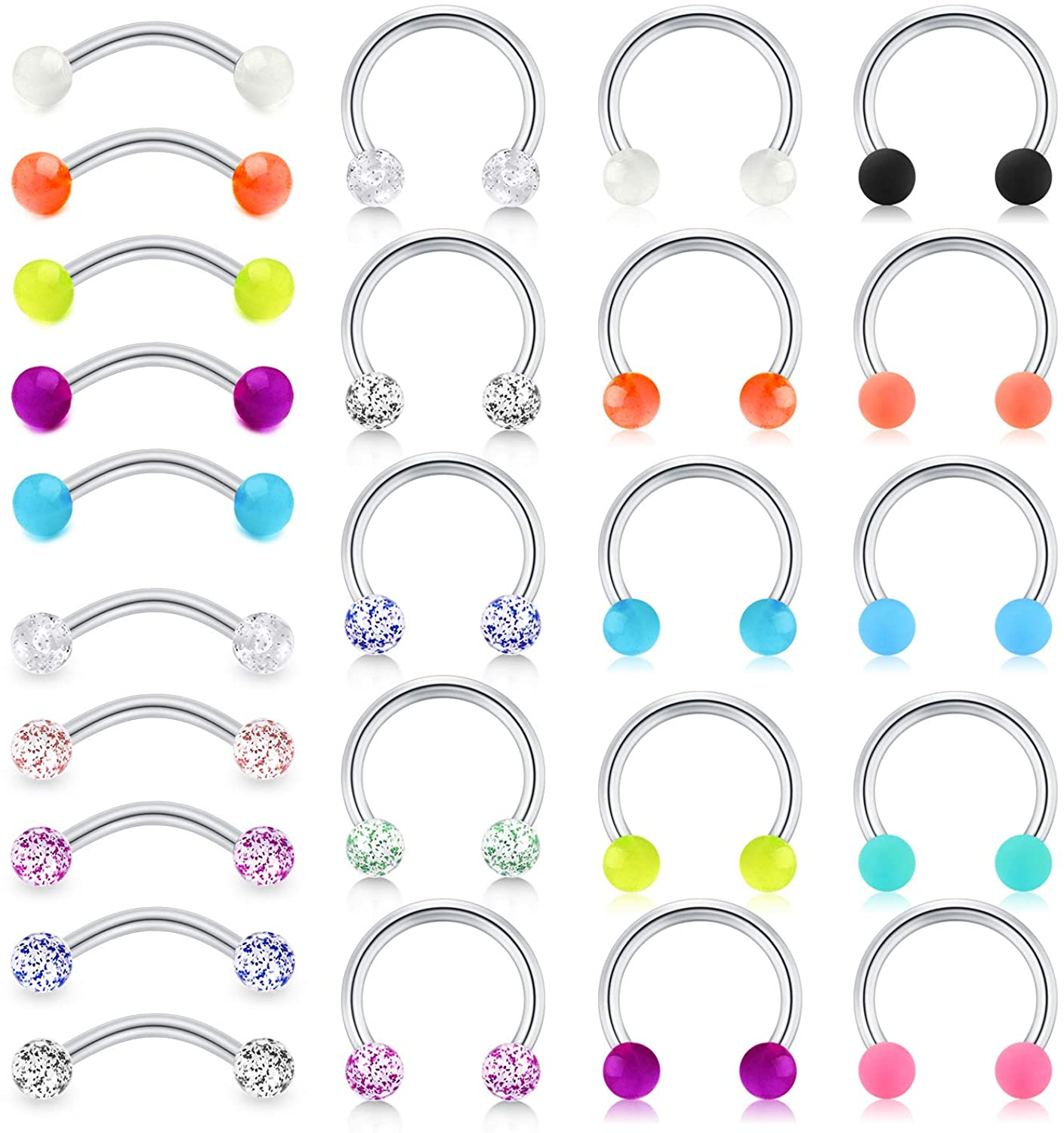 LAURITAMI 16G Rook Earrings Stainless Steel Daith Tragus Piercing Curved Barbell Eyebrow Rings Horseshoe Hoop Earring Cartilage Helix Conch Piercing Jewelry