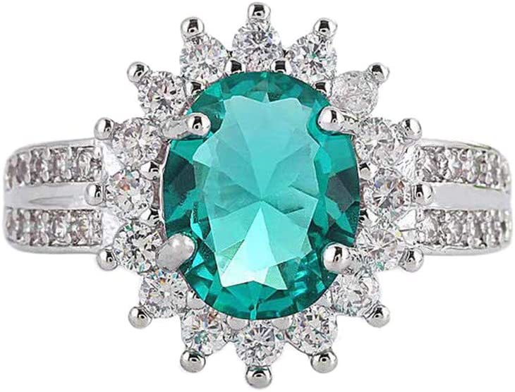 Rings for Women Luxurious Elegant Diamond Green Sun Flower Zircon Pierced Ring Ladies Jewelrya Good Gift for a Girlfriend, Boyfriend, Family