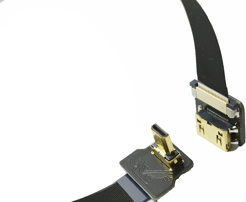 Black FFC HDMI FPV HDMI Cable FFC Micro HDMI male 90 degree to MINI HDMI female for panasonic GH4 black magic BMPCC sony alpha Sony A5000 A6000 A7S A7R (20CM)