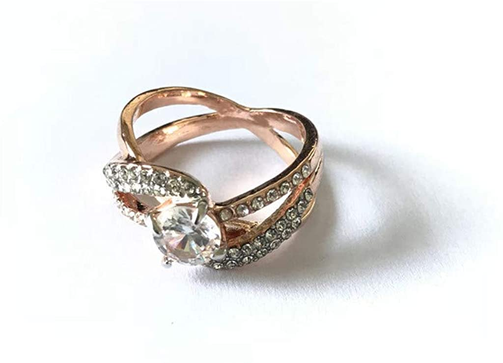 Aunimeifly Women's Exquisite Rose Gold and Diamond Zircon Cut Ring Jewelry Engagement Ring