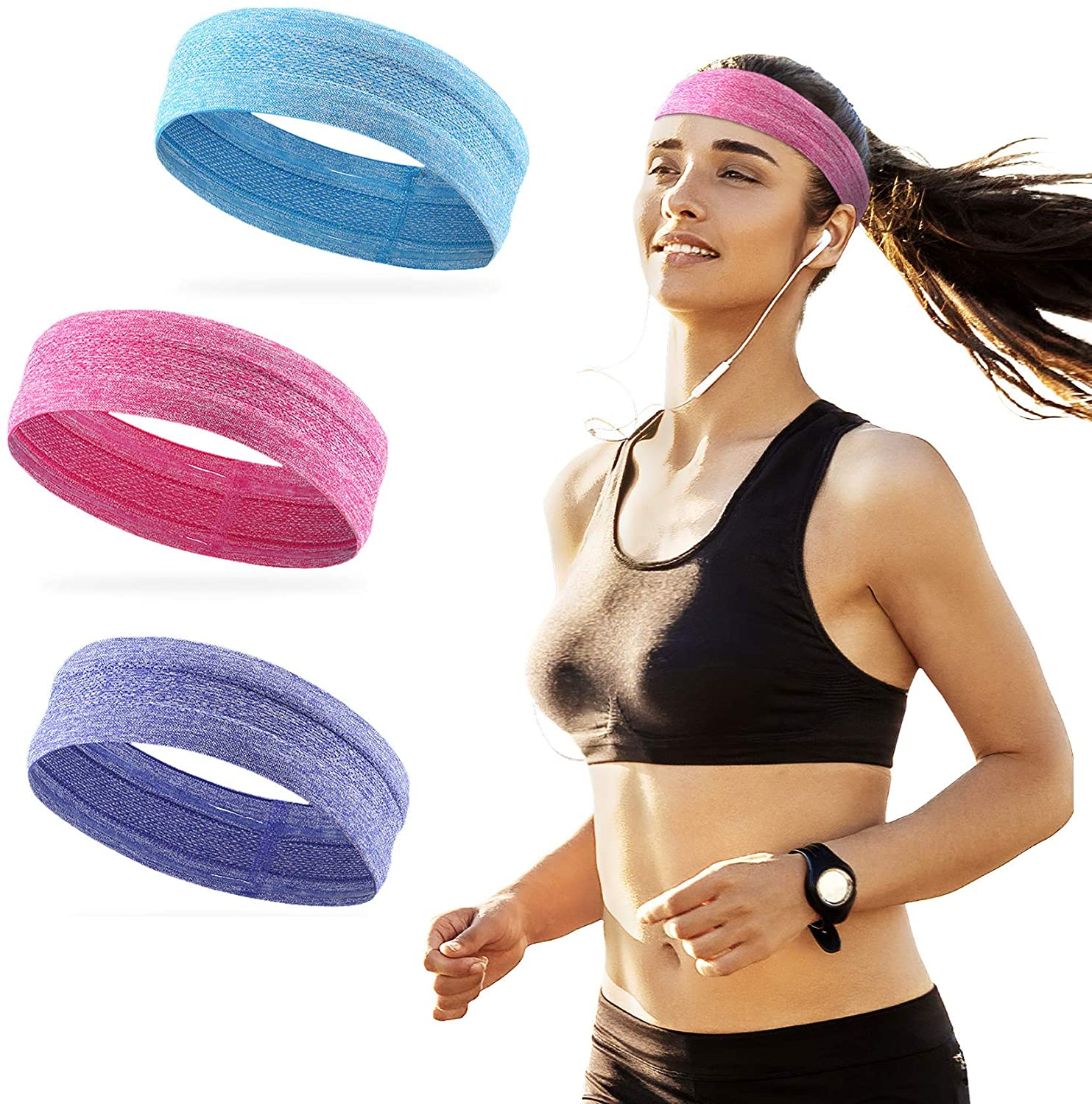 Alien Pros Bling Shiny Headbands for Women Pack of 3 - Never let Sweats Blocking Your Sight Again - Quick Drying Sweat Bands Headbands - Pink Purple Blue Pack of 3