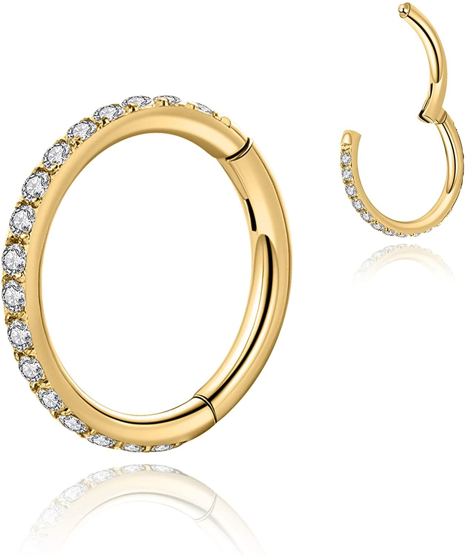 OreilleStar 16G Septum Nose Ring Hoop Clear CZ Paved Seamless Hinged Cartilage Piercing Earrings,Inside Diameter 6mm 8mm 10mm