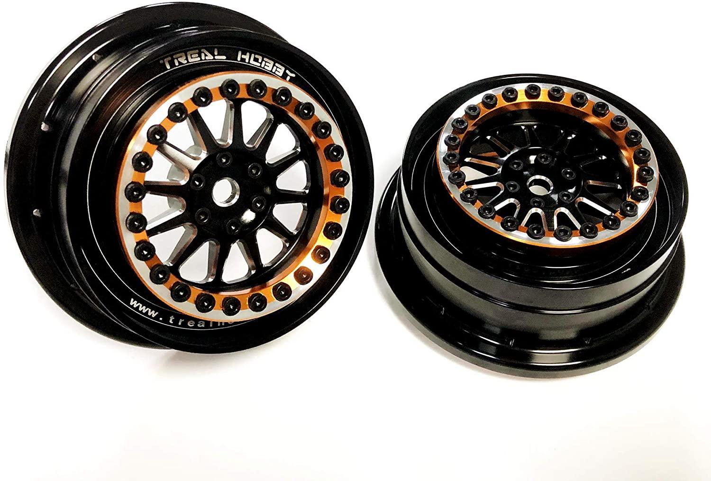 Treal UDR Wheels (2) Aluminum Beadlock Wheels for Traxxas UDR,Fitting Hyrax Tires (Version 1, Orange)