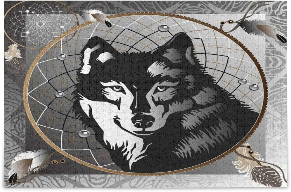 Graphic Wolf Dreamcatcher Design35700175 Jigsaw Puzzles for Adults Kids DIY Gift 1000 Piece with Mesh Storage Bag