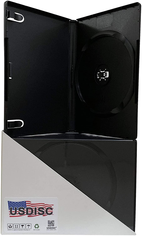 USDISC DVD Cases Standard 14mm M-Lock Hub, Single 1 Disc, Black, Pack of 10