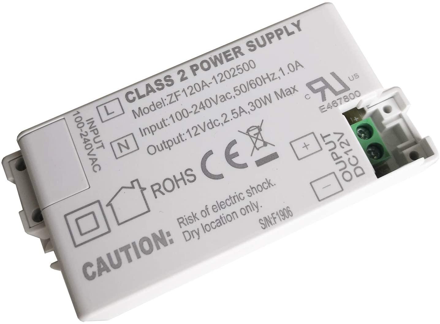 ZF120A-1202500 ZF120A-1205000 12VDC 30W 60W AC/DC Adapter LED Driver for Ceiling Lights Spotlights Buried Fluorescent Lamps,2-Pack (30W)