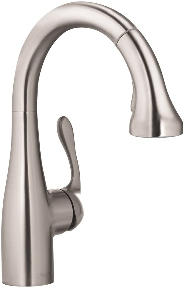 hansgrohe Allegro E Gourmet Premium 1-Handle 14-inch Tall Stainless Steel Kitchen Faucet with Pull Down Sprayer with QuickClean Magnetic Docking Spray Head in Stainless Steel Optic, 04297800