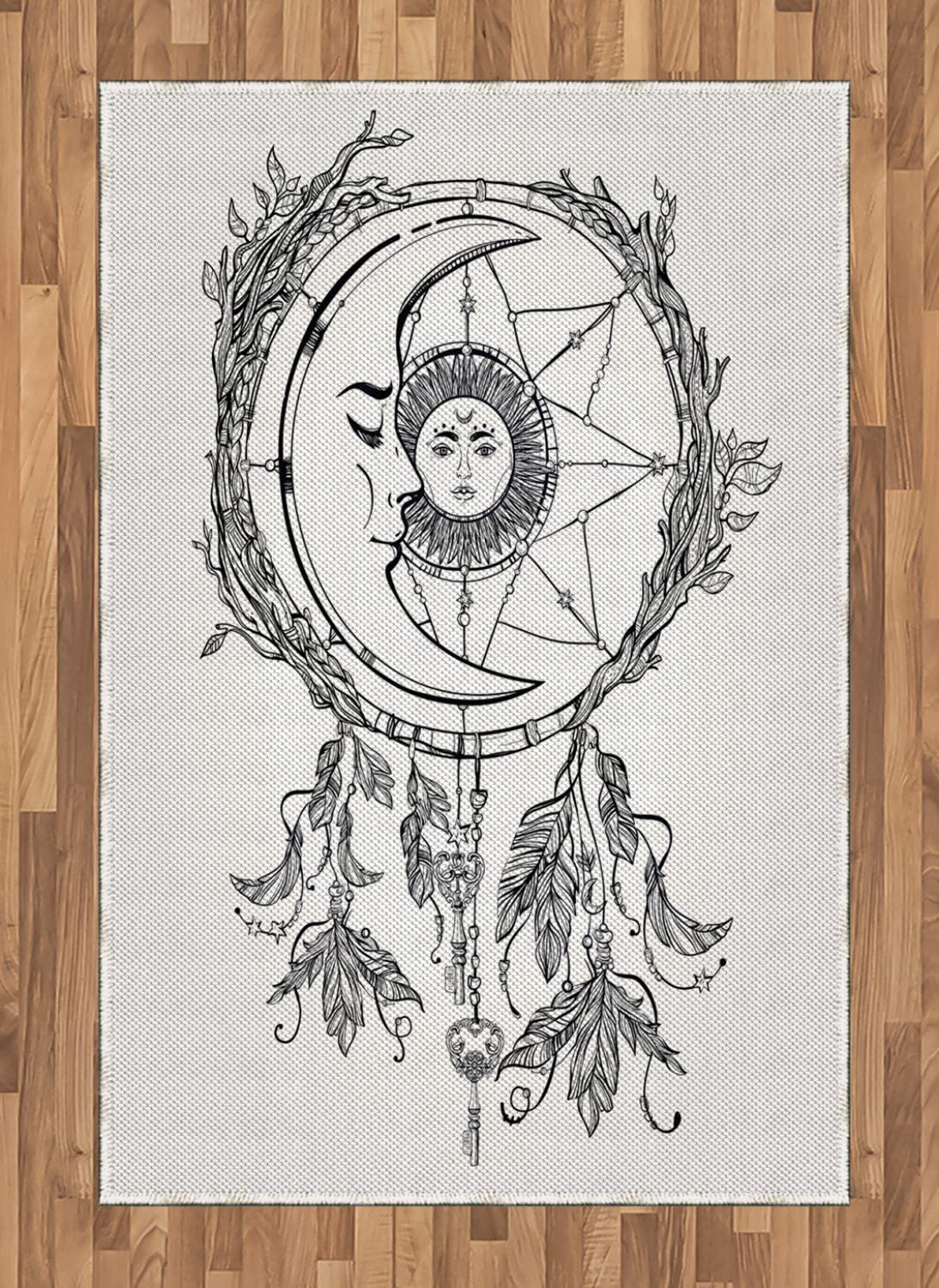 Ambesonne Mystic Area Rug, Dreamcatcher Feathers with Sun and Moon Inside Cosmos Image, Flat Woven Accent Rug for Living Room Bedroom Dining Room, 4' X 5.7', Black White