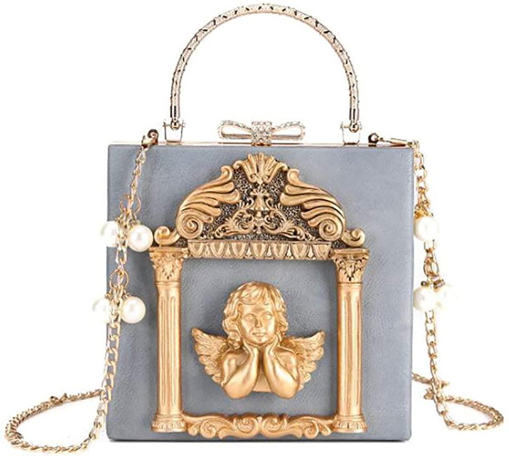 QZUnique Women's Love Angel Embossed Clutch Evening Bag Bowknot Snaps Crossbody Purse Chain Baroque Shoulder Bag